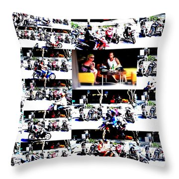 Motorbike Watching On Ubud Streets   Throw Pillow by Funkpix Photo Hunter