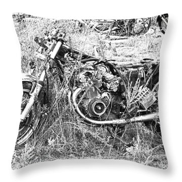Motorcycle Graveyard Throw Pillow by Douglas Barnard