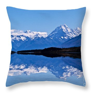 Mount Cook With Reflection Throw Pillow by Avalon Fine Art Photography