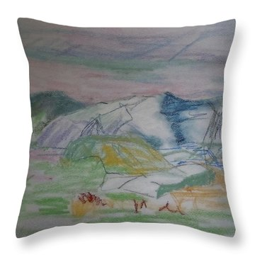 Throw Pillow featuring the painting Mount Desert Back Side by Francine Frank