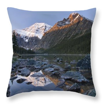 Mount Edith Cavell, Cavell Lake, Jasper Throw Pillow by Philippe Widling