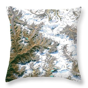 Mount Everest  Throw Pillow by Planet Observer and Photo Researchers