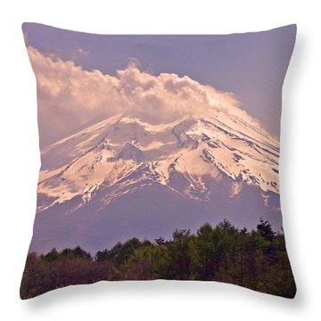 Mount Fuji Throw Pillow by David Rucker