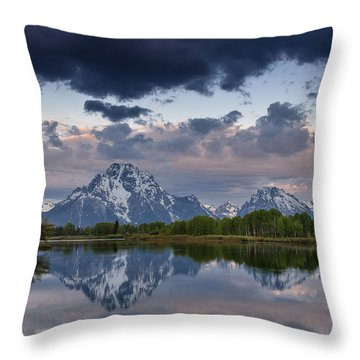 Mount Moran Under Black Cloud Throw Pillow by Greg Nyquist