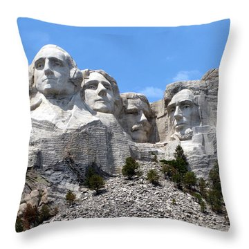 Mount Rushmore Usa Throw Pillow by Olivier Le Queinec