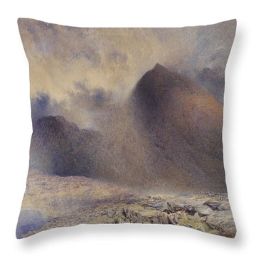 Mount Snowdon Through Clearing Clouds Throw Pillow by Alfred William Hunt
