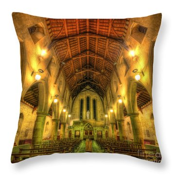 Mount St Bernard Abbey - The Nave Throw Pillow by Yhun Suarez