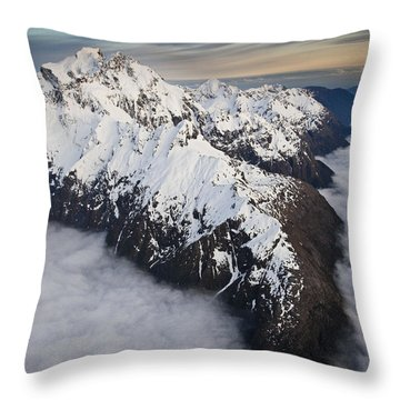 Mount Tutoko At Dawn In Fiordland Np Throw Pillow by Colin Monteath