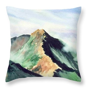 Throw Pillow featuring the painting Mountain  1 by Yoshiko Mishina