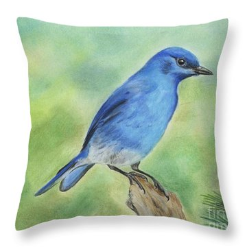 Mountain Bluebird Throw Pillow