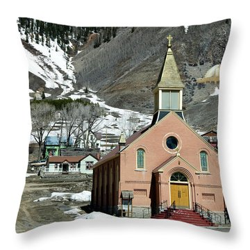 Throw Pillow featuring the photograph Mountain Chapel With Red Steps by Lorraine Devon Wilke