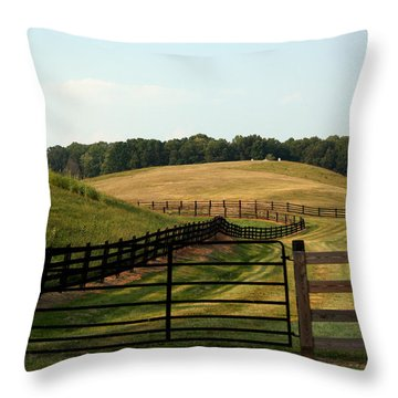 Mountain Farmland Throw Pillow