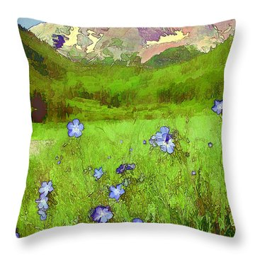 Mountain Flowersketch Throw Pillow