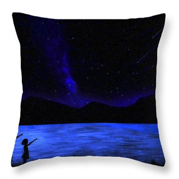 Mountain Lake Glow In The Dark Mural Throw Pillow by Frank Wilson