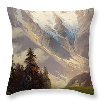 Mountain Landscape With The Grossglockner Throw Pillow by Nicolai Astudin