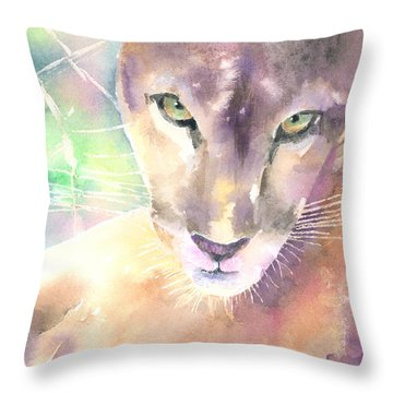 Mountain Lion Throw Pillow by Arline Wagner