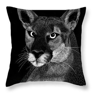 Throw Pillow featuring the mixed media Mountain Lion by Kume Bryant