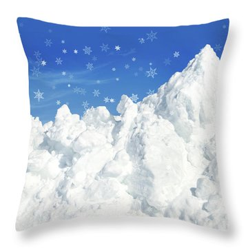 Mountain Of Snow Throw Pillow by Sandra Cunningham