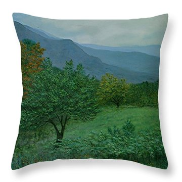 Throw Pillow featuring the painting Mountain Orchard At Dusk by Kathleen McDermott