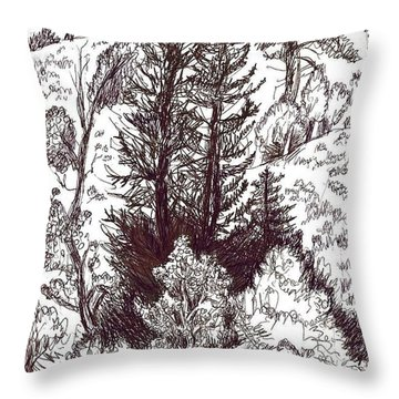 Mountain Pines And Aspen Field Sketch Throw Pillow by Dawn Senior-Trask