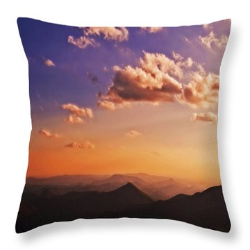 Mountain Sunset Throw Pillow by Susan Leggett