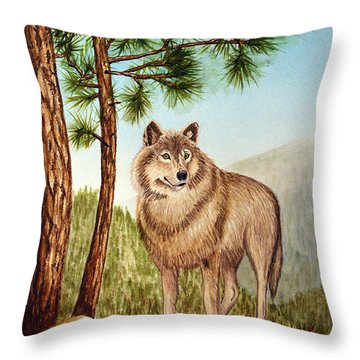 Throw Pillow featuring the painting Mountain Wolf by Judy Filarecki