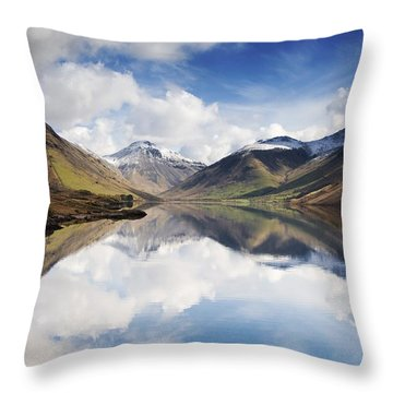Mountains And Lake, Lake District Throw Pillow