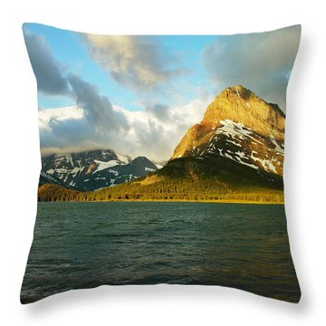 Mountains At Many Glacier Throw Pillow by Jeff Swan