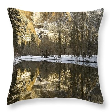 Mountains Reflecting In Merced River In Throw Pillow by Robert Brown