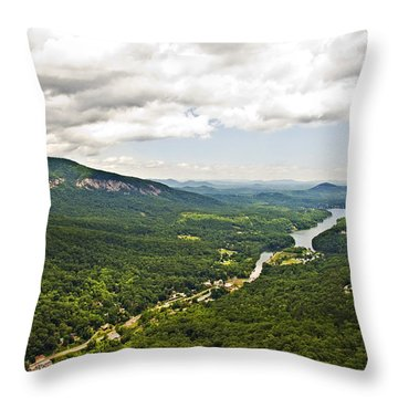 Mountains With Lake In The Valley Throw Pillow by Susan Leggett