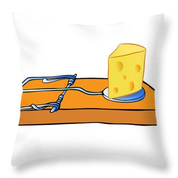 Mousetrap With Cheese - Trap Throw Pillow by Michal Boubin