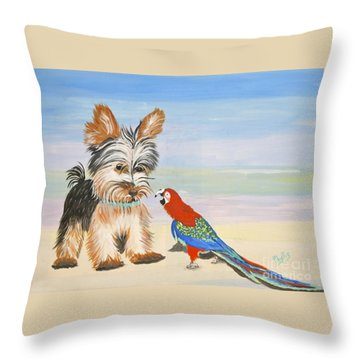 Mouthy Parrot Throw Pillow