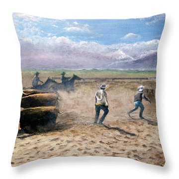 Move Em Out Throw Pillow by Stuart B Yaeger