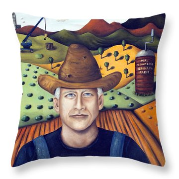 Mr Cooper's Spinach Farm Throw Pillow by Leah Saulnier The Painting Maniac