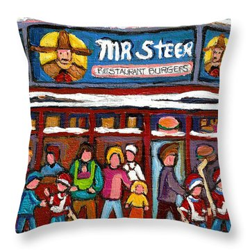 Mr Steer Restaurant Montreal Throw Pillow by Carole Spandau