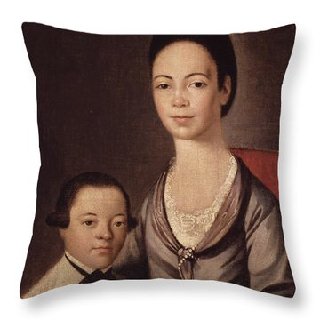 Mrs. Aaron Lopez And Her Son Joshua Throw Pillow by  Gilbert Stuart