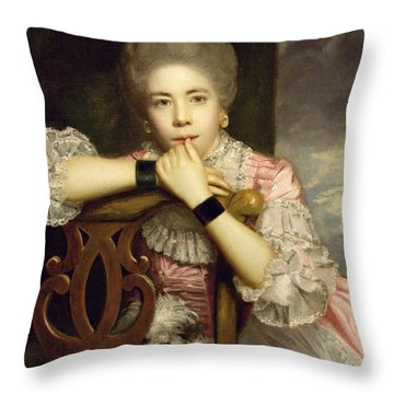 Mrs Abington As Miss Prue In Congreve's 'love For Love'  Throw Pillow by Sir Joshua Reynolds