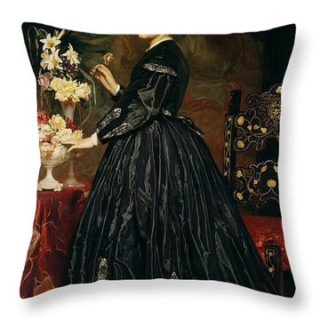 Mrs James Guthrie Throw Pillow by Frederic Leighton