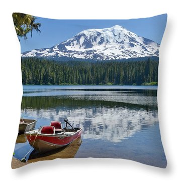 Mt Adams At The Lake Throw Pillow