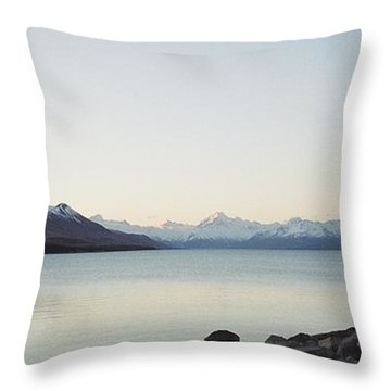 Mt Cook From Lake Pukaki Throw Pillow by Peter Mooyman