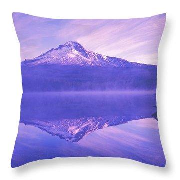 Mt. Hood And Trillium Lake Mt Hood Throw Pillow by Dan Sherwood