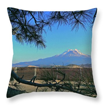 Mt Shasta At Weed  Throw Pillow by Pamela Patch