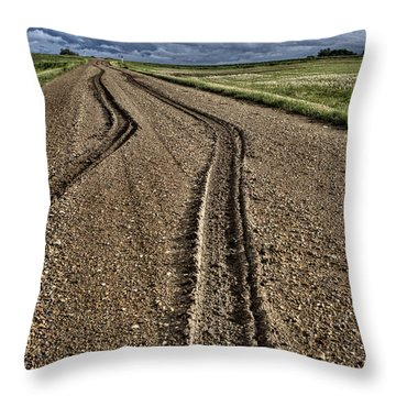 Mud Tire Tracks Throw Pillow by Mark Duffy