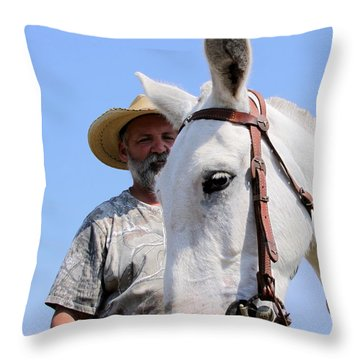 Mules At Benson Mule Day Throw Pillow by Travis Truelove
