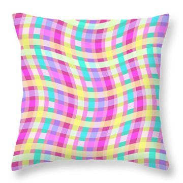 Multi Check Throw Pillow by Louisa Knight