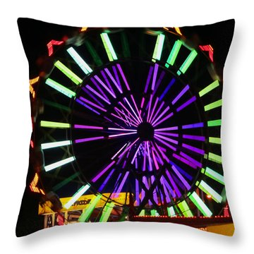 Throw Pillow featuring the photograph Multi Colored Ferris Wheel by Kym Backland