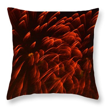 Mums Absract Throw Pillow by Sandi OReilly