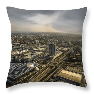Munich From Above - Vintage Part Throw Pillow by Hannes Cmarits