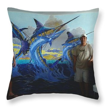 Mural In Bimini Throw Pillow by Carey Chen
