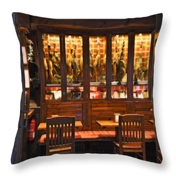 Museo De Jamon Seville Throw Pillow by Mary Machare